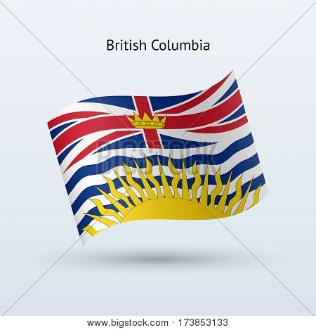 Canadian province of British Columbia flag waving form on gray background. Vector illustration.