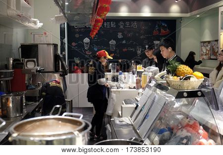 HANGZHOU - FEBRUARY 21: The food court at luxury shopping mall in Hangzhou city, China, February 21, 2016.