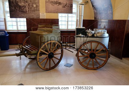 ZAGREB, CROATIA - FEBRUARY 15: Mobile kitchen exhibited at the Museum of the City of Zagreb, Croatia on February 15, 2015.