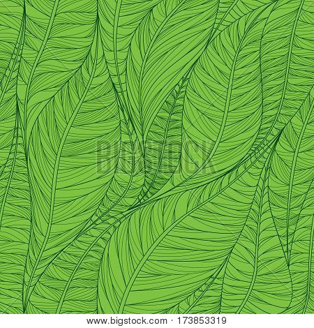 Linear seamless texture on the basis of abstract leaves. Green background. Background for leaflets, cards, invitations, packaging and banner.