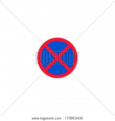 No stopping and parking roadsign isolated on white background vector illustration. Car parking regulation symbol, prohibitory traffic sign, road information and help, roadway auto service icon