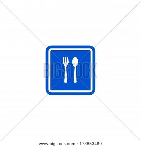 Restaurant roadsign isolated on white background vector illustration. Car parking regulation symbol, fork and spoon traffic sign, road information and help, roadway auto service icon