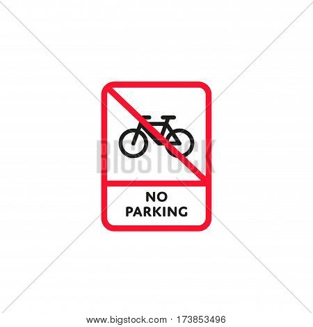 No parking bicycle roadsign isolated on white background vector illustration. Parking regulation symbol, traffic sign, road information and help, roadway auto service icon