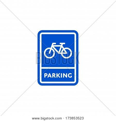 Parking bicycle roadsign isolated on white background vector illustration. Parking regulation symbol, traffic sign, road information and help, roadway auto service icon