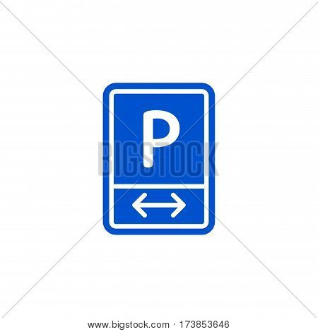 Parking zone to left and right roadsign isolated on white background vector illustration. Car parking regulation symbol, traffic sign, road information and help, roadway auto service icon