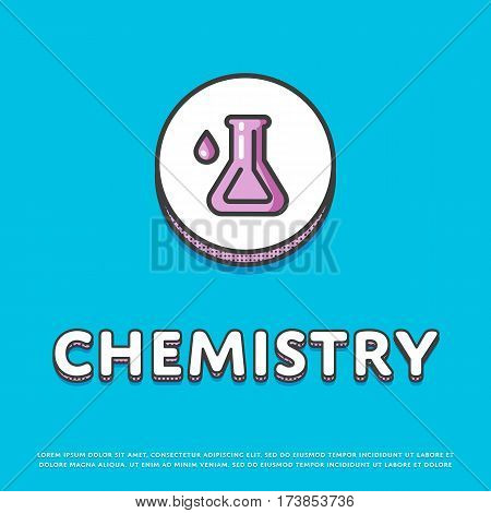 Chemistry colour round icon isolated vector illustration. Chemical glass test tube symbol. Science lab, scientific research equipment, school subject logo or sign in line design.