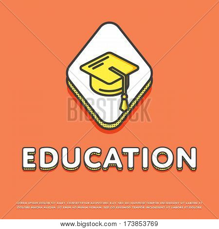 Education colour rhomb icon isolated vector illustration. Mortar board or graduation cap symbol. High school education concept, college, university logo or sign in line design.