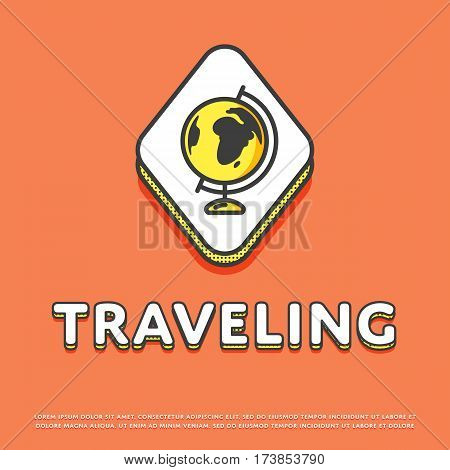 Traveling colour rhomb icon isolated vector illustration. Globe, world map, earth or planet symbol. Worldwide traveling and tourism, globe geography logo or sign in line design.