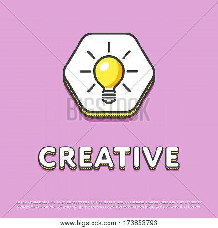 Creative colour hexagonal icon isolated vector illustration. Light bulb, lamp, idea symbol. Big creative idea inspiration innovation, invention, effective thinking logo or sign in line design.