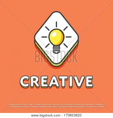 Creative colour rhomb icon isolated vector illustration. Light bulb, lamp, idea symbol. Big creative idea inspiration innovation, invention, effective thinking logo or sign in line design.
