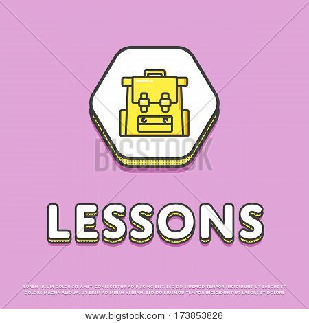 Lessons colour hexagonal icon isolated vector illustration. School bag, rucksack, backpack symbol. Learning and education, interactive study, online lessons logo or sign in line design.