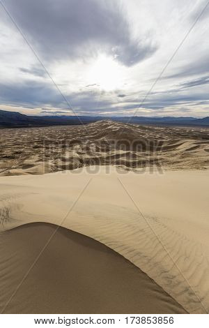 View from the top of Kelso Dunes in the Mojave National Preserve south of Baker, California.