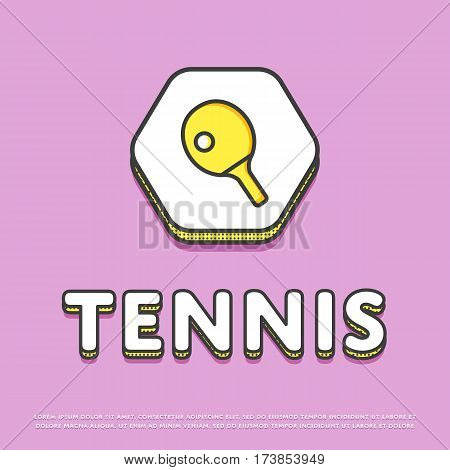 Tennis colour hexagonal icon isolated vector illustration. Ping pong paddle with ball, tennis racket symbol. Athletic equipment, sport activity and recreation logo or sign in line design.