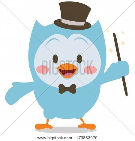 Magician owl mascot collection stock vector art
