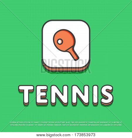 Tennis colour square icon isolated vector illustration. Ping pong paddle with ball, tennis racket symbol. Athletic equipment, sport activity and recreation logo or sign in line design.