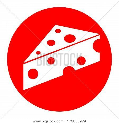Cheese Maasdam sign. Vector. White icon in red circle on white background. Isolated.