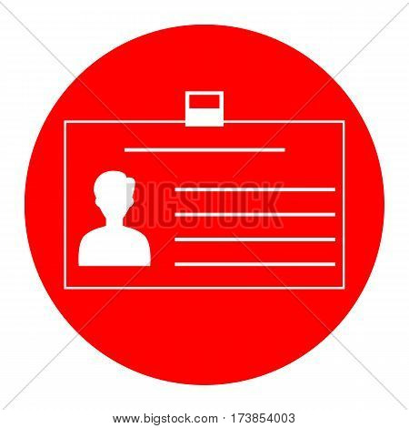 Identification card sign. Vector. White icon in red circle on white background. Isolated.