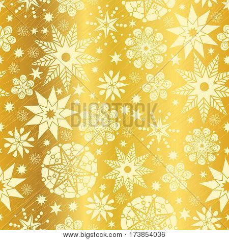Vector Gold Yellow Abstract Doodle Stars Seamless Pattern Background. Great for elegant texture fabric, cards, wedding invitations, wallpaper. Textile pattern design.