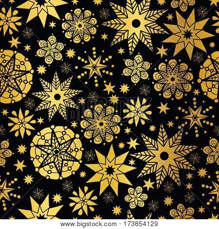 Vector Gold Black Abstract Doodle Stars Seamless Pattern Background. Great for elegant texture fabric, cards, wedding invitations, wallpaper. Textile pattern design.