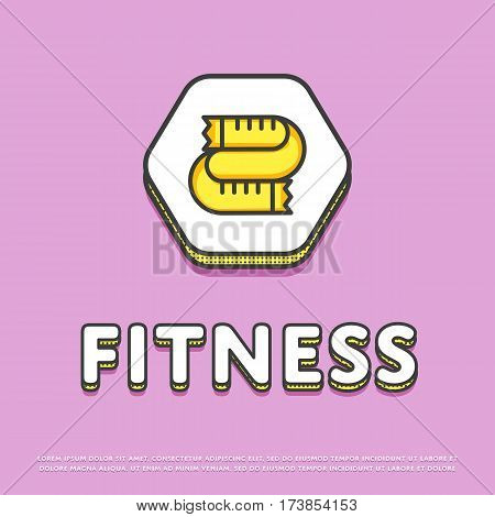 Fitness colour hexagonal icon isolated vector illustration. Measuring tape symbol. Fitness lifestyle concept, sports and exercise, caring figure and health logo or sign in line design.