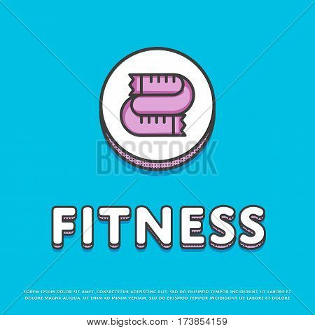 Fitness colour round icon isolated vector illustration. Measuring tape symbol. Fitness lifestyle concept, sports and exercise, caring figure and health logo or sign in line design.