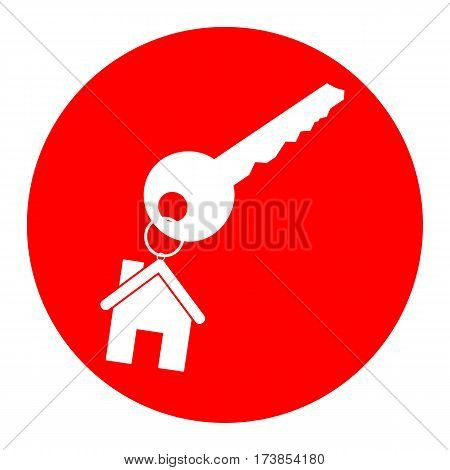 key with keychain as an house sign. Vector. White icon in red circle on white background. Isolated.