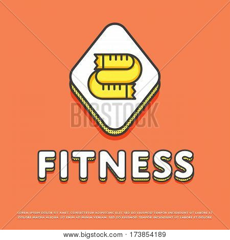 Fitness colour rhomb icon isolated vector illustration. Measuring tape symbol. Fitness lifestyle concept, sports and exercise, caring figure and health logo or sign in line design.