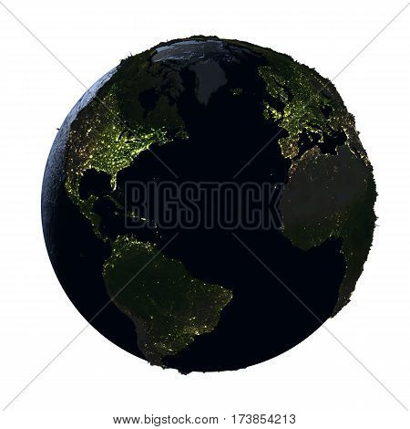 Northern Hemisphere On Earth At Night Isolated On White