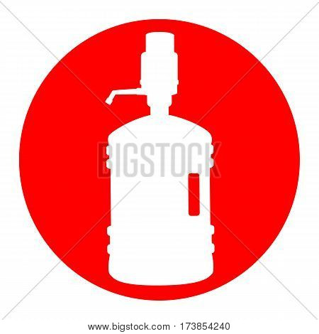 Plastic bottle silhouette with water and siphon. Vector. White icon in red circle on white background. Isolated.