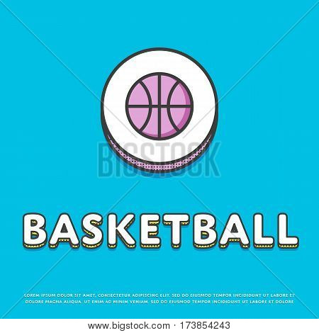 Basketball colour round icon isolated vector illustration. Basketball ball symbol. Athletic equipment, basketball team, sport activity and recreation game logo or sign in line design.