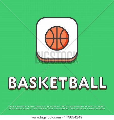 Basketball colour square icon isolated vector illustration. Basketball ball symbol. Athletic equipment, basketball team, sport activity and recreation game logo or sign in line design.