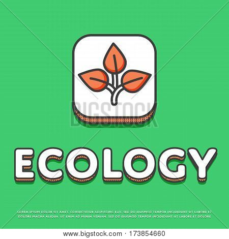 Ecology colour square icon isolated vector illustration. Leaves nature ecological symbol. Eco friendly concept, green recycling, environment protection logo or sign in line design.
