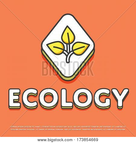 Ecology colour rhomb icon isolated vector illustration. Leaves nature ecological symbol. Eco friendly concept, green recycling, environment protection logo or sign in line design.