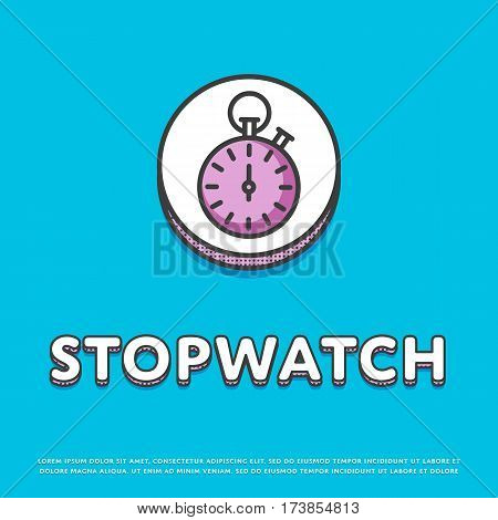 Stopwatch colour round icon isolated vector illustration. Sport watch timer, stopwatch symbol. Athletic competition, sport equipment, time management logo or sign in line design.