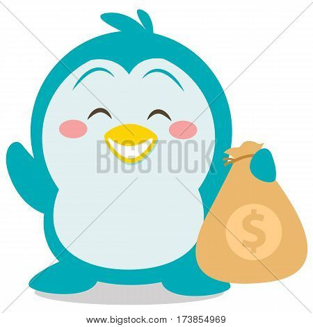 Character penguin with money vector collection stock