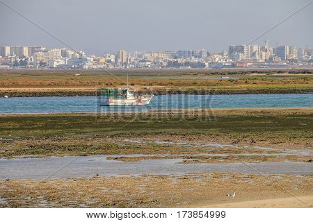 View of the Island of Faro in Algarve Portugal