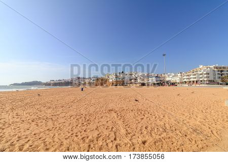 View of the beach of Albufeira in Algarve Portugal