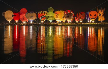 CHIANG RAI THAILAND - FEBRUARY 14 2017 : International Balloon Fiesta 2017 is the festival of happiness at Singha Park Chiang Rai 14- 18 February 2017 northern of Thailand.