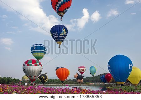 HIANG RAI THAILAND - FEBRUARY 14 2017 : International Balloon Fiesta 2017 is the festival of happiness at Singha Park Chiang Rai 14- 18 February 2017 northern of Thailand.