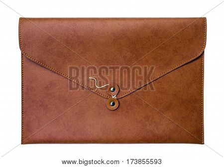 brown leather case document isolated on whitewith clipping path