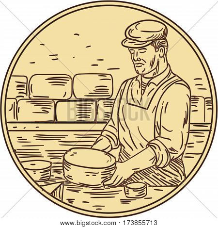 Drawing sketch style illustration of a cheesemaker standing making cheddar cheese block set inside circle.