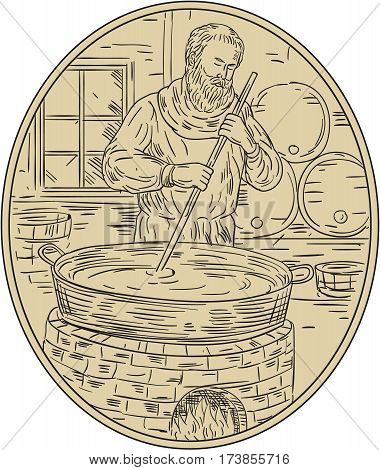 Drawing sketch style illustration of a medieval monk brewer brewing beer in brewery with barrel in background viewed from front set inside oval shape.