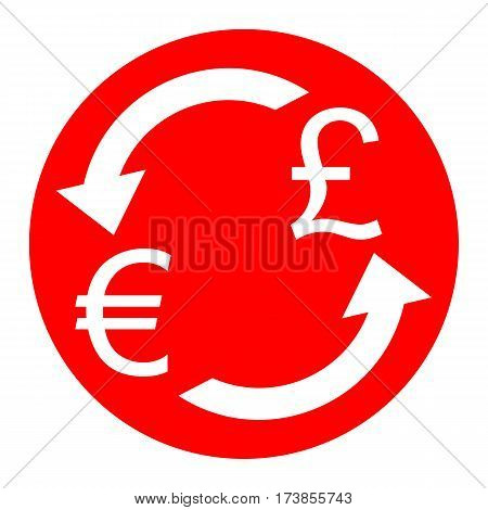 Currency exchange sign. Euro and UK Pound. Vector. White icon in red circle on white background. Isolated.