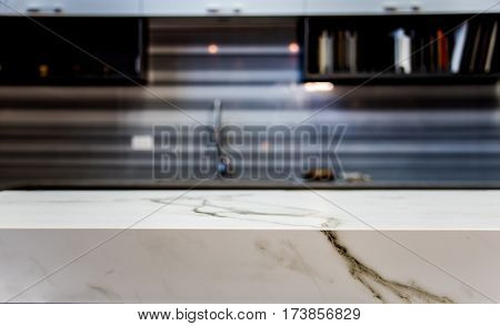 Marble. Marble kitchen countertop. Marbled island of modern kitchen.