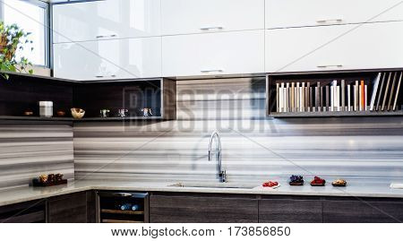Kitchen interior concept. Modern style of italian interior kitchen. Residential home with modern kitchen interior design. Modern kitchen interior design.
