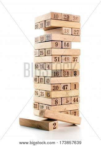 Blocks Of Game Isolated On White Background. Vertical Tower Whole And In Game. Wooden Blocks In Stac