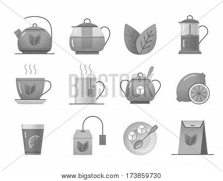Set of vintage tea icons. Pictogram collection with cup, teapot, leaf of mint, nature beverage, sugar and spoon, teabag, lemon and paper pack. Black and white design elements with retro texture.