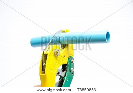 pipe cutter equipment tool repair plastic pipework  on white