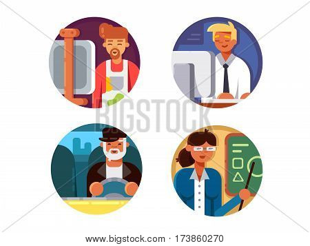 Professions set. Driver and teacher, artist and programmer. Vector illustration. Pixel perfect icons size - 128 px