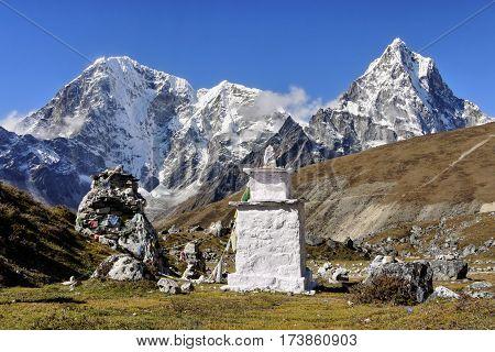 Buddhist stupa and the Himalayas Mountains, Nepal